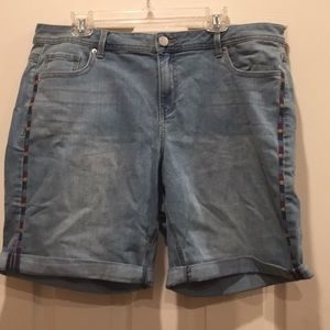 Lane Bryant embroidered jeans shorts